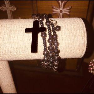 Jewelry - Bracelet with hematite beads, wrap around style